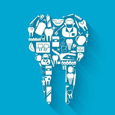 tooth pain: Tooth made of silhouette dental health and caries protection stomatology icons concept vector illustration