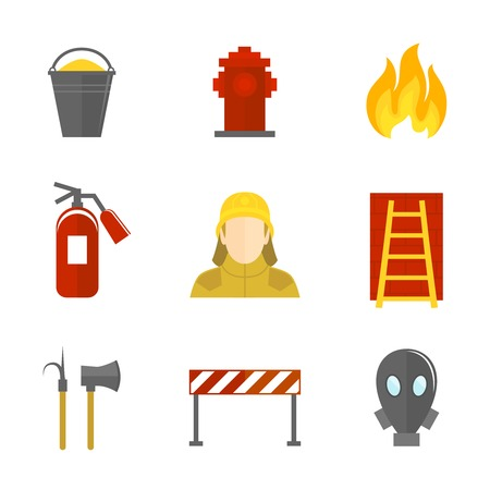 fire fighter: Firefighting icons flat set of firefighter emergency ladder water hydrant isolated vector illustration