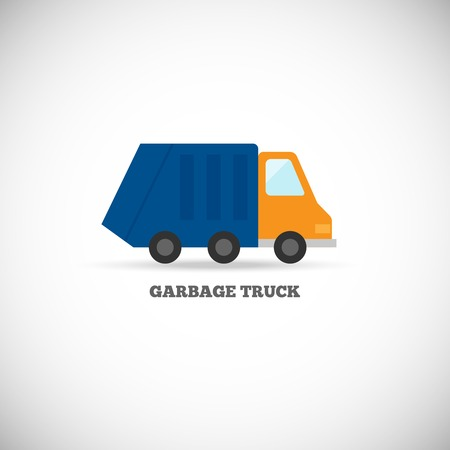 garbage bag: Garbage truck with trash green rubbish recycling symbol icon isolated on white background vector illustration
