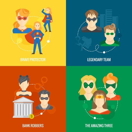 legendary: Business concept flat icons set of hero composition with brave legendary amazing protector team infographic design elements vector illustration Illustration