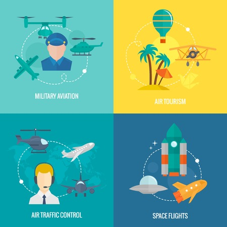 air traffic: Business concept flat icons set of aircraft military aviation air tourism traffic control and space flights infographic design elements vector illustration
