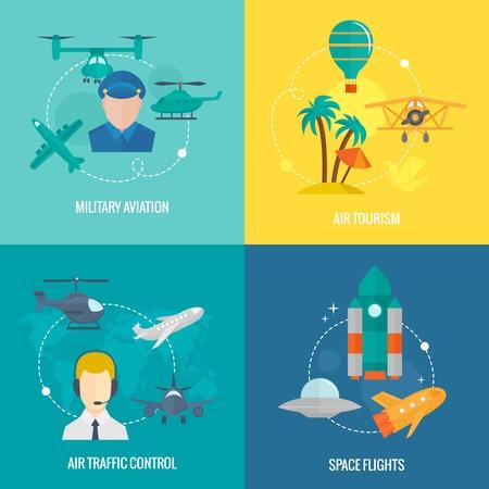 traffic control: Iconos planos Concepto de negocio conjunto de la aviaci�n militar de aviones de control de tr�fico a�reo y el turismo espacial vuelos ilustraci�n elementos de dise�o vectorial infograf�a