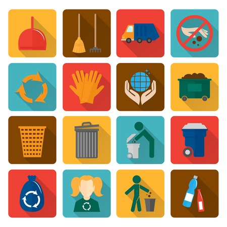 shadowed: Garbage trash cleaning recycling environmental symbols flat shadowed icons set isolated vector illustration