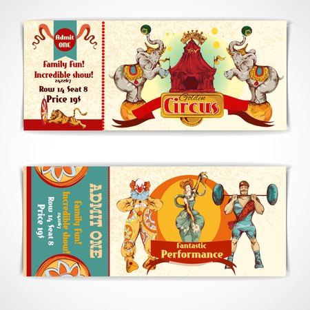 circus vector: Two vintage circus incredible clown show entrance tickets templates with strongman barbells set isolated vector illustration