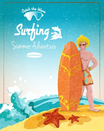 surfer vector: Surfing summer adventure promo poster with male surfer and board vector illustration Illustration