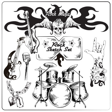 drum and bass: Rock guitar music grunge black sketch set isolated vector illustration