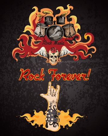 rock hand: Rock forever music grunge colored retro sketch poster with drum set vector illustration Illustration