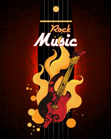 bass guitar: Rock music guitar in fire grunge colored retro sketch poster with drum set vector illustration