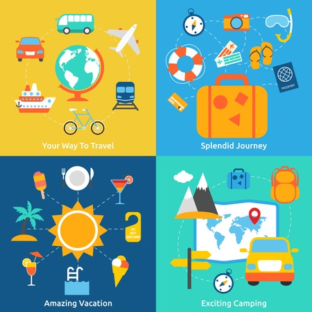 splendid: Business concept flat icons set of travel splendid journey amazing vacation and exciting camping infographic design elements vector illustration