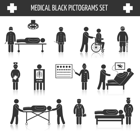 Medical hospital ambulance emergency healthcare tests and services black pictograms set isolated vector illustration Illustration