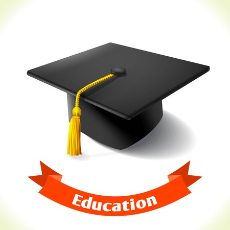 Realistic school education graduation hat icon with ribbon banner isolated on white background vector illustration Ilustrace