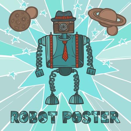 인간형: 모자와 넥타이 디자인 포스터 벡터 일러스트와 함께 파란색 펑키 로봇 소식통 복고풍 인간형