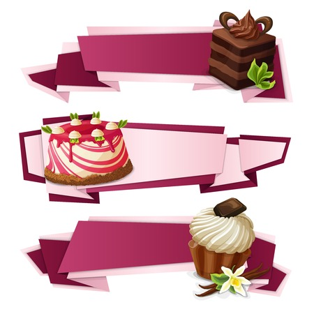 layer cake: Decorative sweets food paper banners set with layered cake panna cotta vanilla muffin dessert isolated vector illustration