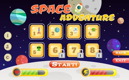 Scifi space adventure game user interface template vector illustration