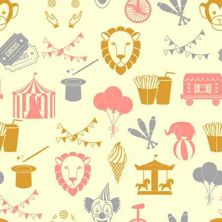 Vintage decorate circus tent with clown magical wand seamless wrap paper pattern in red orange gray color vector illustration Vector