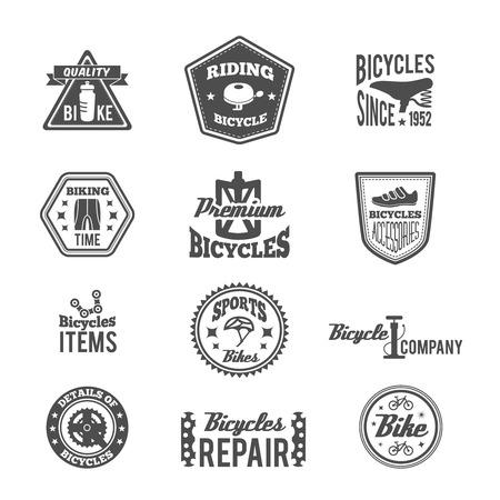 helmet bike: Set of bike helmet sport equipment in monochrome style label isolated on white vector illustration Illustration
