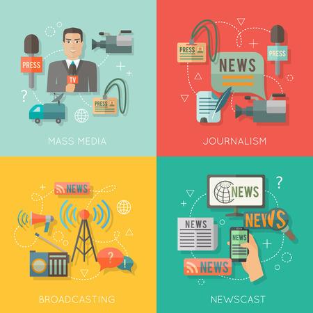 entrevista: Los medios de comunicaci�n concepto difusi�n period�stica de noticias elenco iconos de negocios establecidos plana de profesi�n paparazzi radio en vivo por ejemplo elementos de dise�o de infograf�as web de vectores
