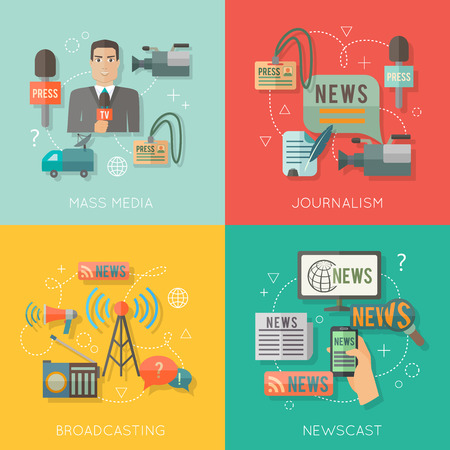Mass media giornalismo concetto di trasmissione di notizie getto piatto icone di affari set di paparazzi professione diretta radiofonica per infografica progettazione illustrazione vettoriale di elementi web