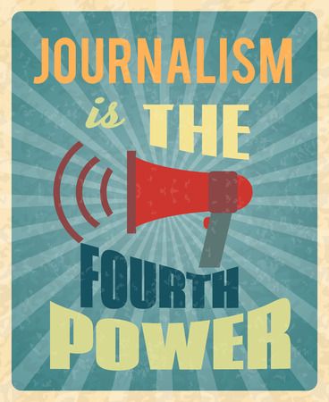 press news: Journalism press news reporter profession poster with red megaphone and text vector illustration