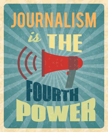 reportero: Periodismo de prensa el periodista cartel profesión con megáfono rojo y la ilustración del vector del texto