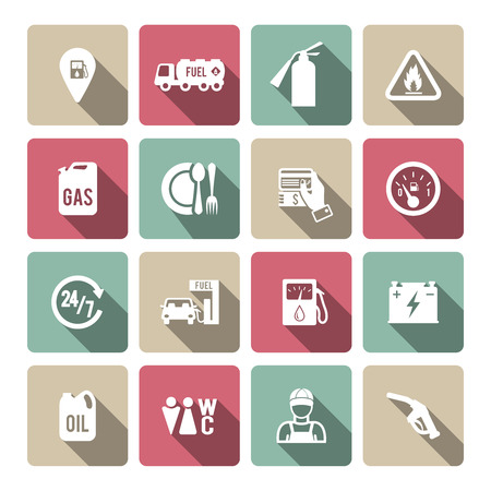gas can: Set of fuel station car auto gasoline service icons in white with long shadow color vector illustration