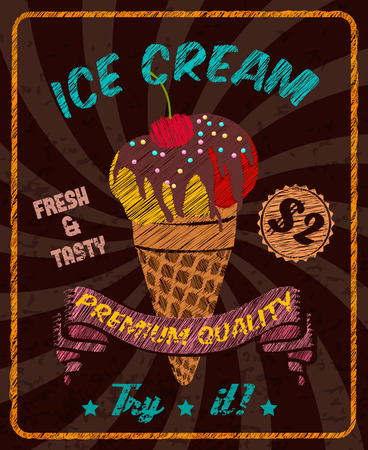 Chocolat savoureux crème glacée au chocolat cerise en tête en cône plaquette vecteur tasse illustration