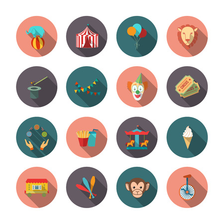 circus caravan: Set of circus monkey lion clown flat isolated icons with long shadows on circles vector illustration