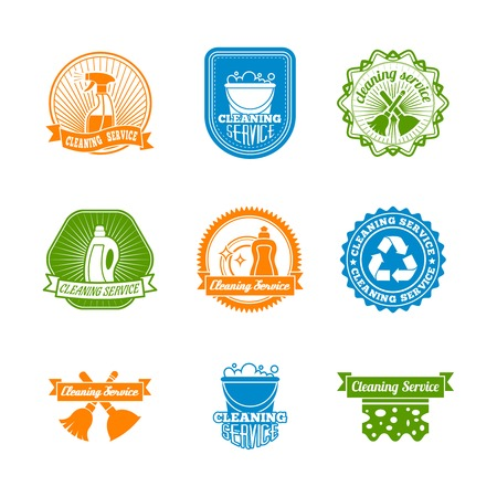 sanificazione: Pulizia spolverare e colore risanamento etichette set di detergente spray bottiglia illustrazione vettoriale