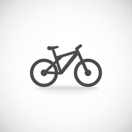 黒い色のベクトル図で分離された 1 枚のシルエット自転車山アイコン