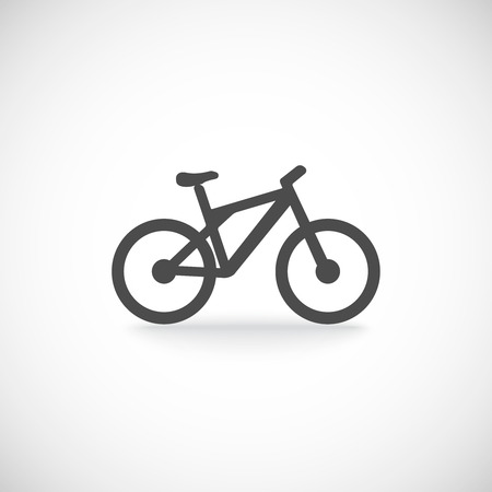 one wheel bike: Single silhouette bicycle mountain icon isolated in black color vector illustration