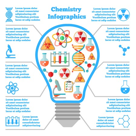Science chemical colorful infographcis bulb with dna atom microscope icons vector illustration Vector