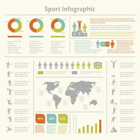 Infografic athletics sport achievements development and competitions winners statistics presentation diagrams layout template design vector illustration Vector