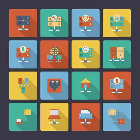 rack server: Hosting computer network flat icons set with computer technology elements isolated vector illustration