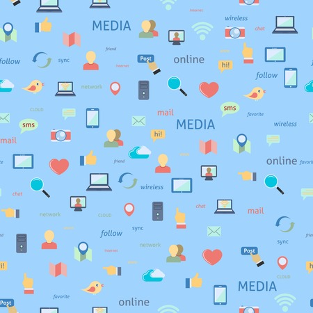 Seamless in flat style social network media icons pattern background vector illustration Vector
