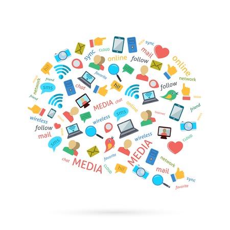 소셜 미디어 컴퓨터 네트워크 기호 거품 모양 디자인 아이콘 포스터 벡터 일러스트 레이 션 컬렉션 평면을 그림 문자 일러스트