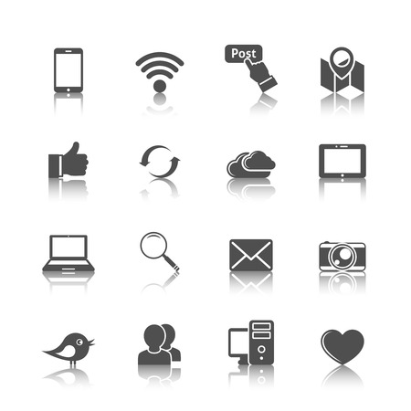 thumbup: Social media mobile global network set with computer cloud tablet monochrome icons isolated vector illustration Illustration