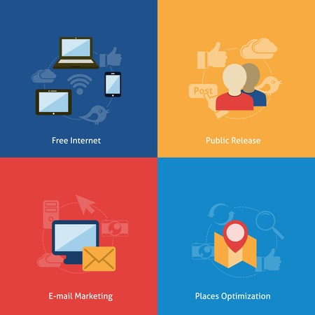 thumbup: Internet wireless navigation e-mail marketing concept flat business icons set of phone computer people pin pointer map icons for infographics design web elements vector illustration