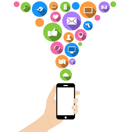 hand holding smart phone: Hand hold mobile phone with social networking media flat icons in white on circles vector illustration Illustration