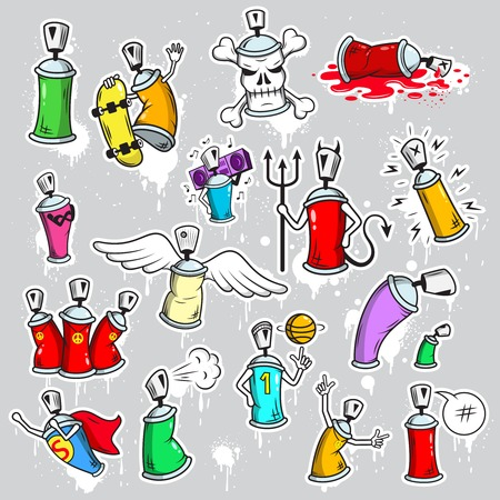 spray paint can: Decorative graffiti street wall hip hop school youth characters bright paint pictograms collection  abstract isolated vector illustration Illustration