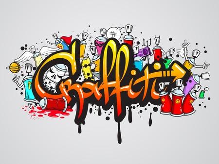 장식 낙서 예술 스프레이 페인트 문자 및 문자 조성 추상 벽 아트웍 드로잉 스케치 그런지 벡터 일러스트 레이션