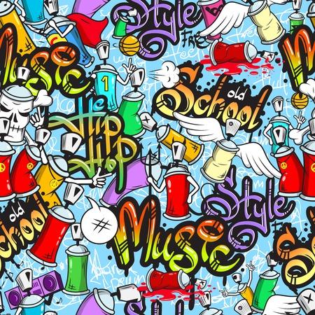 музыка: Декоративные спрей граффити можно символов городской школьной молодежи стрит-арт дизайн бесшовных обернуть Абстрактные векторные иллюстрации Иллюстрация