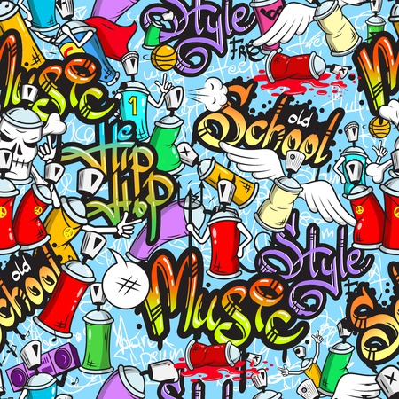 aerosol can: Decorative graffiti spray can characters urban school youth street art design seamless pattern wrap abstract vector illustration