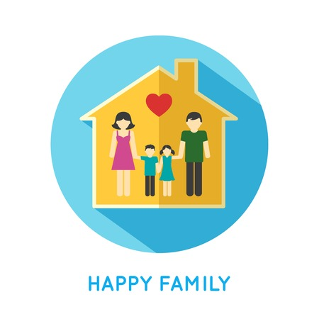 family with two children: Happy family flat concept icon with parents and two children at home vector illustration Illustration