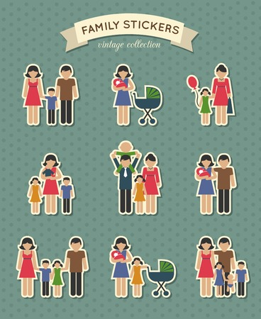 family with two children: Set of color family  parent kids icons stickers for scrapbook  vector illustration