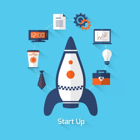 computer office: Start up on blue background concept with rocket glass bulb computer office icon vector illustration