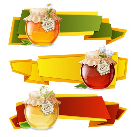 linden: Natural sweet golden organic honey in glass jar origami horizontal banners set isolated vector illustration