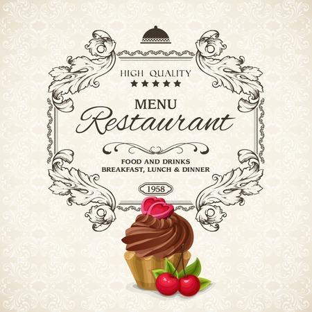 tag label: Elegant restaurant menu list with frame and chocolate cream cake vector illustration Illustration