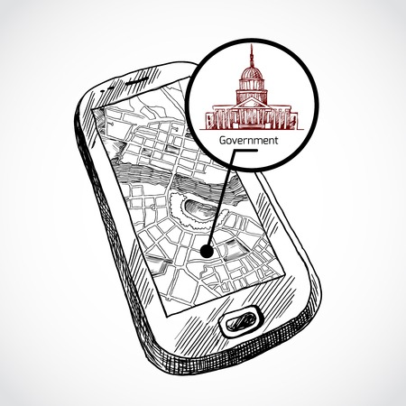 Sketch draw smartphone with navigation map and find government building vector illustration Vector