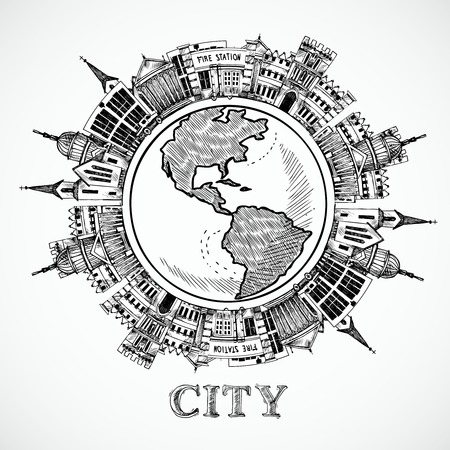 Travel concept in sketch style with government buildings around the globe vector illustration Vector