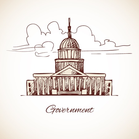 politic: Government law politic building with skyline in brown color vector illustration